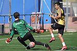 Getafe's Leandro Chichizola (l) and Angel Rodriguez during training session. May 19,2020.(ALTERPHOTOS/Acero)