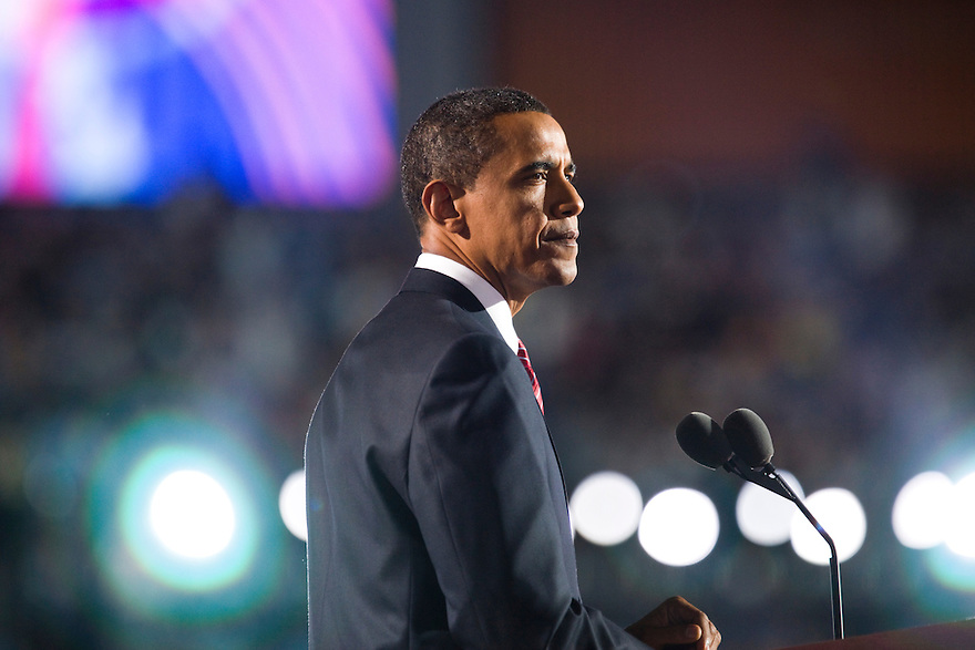 Democratic presidential candidate, Sen. Barack Obama, D-Ill., addresses the crowd on the final night of the Democratic National Convention at Invesco Field in Denver, CO...Photo by Brooks Kraft/Corbis....