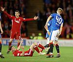 08.05.2018 Aberdeen v Rangers: Ross McCrorie holding his hamstring