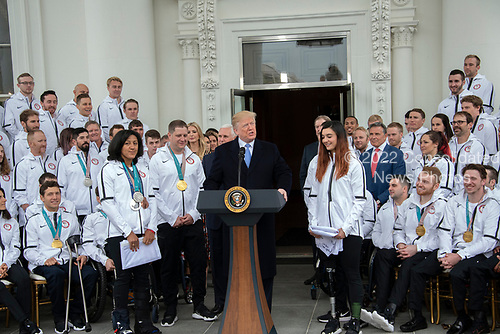 United States President Donald J. Trump hosts a celebration for Team USA at the White House in Washington, DC on Friday, April 27, 2018.<br /> Credit: Ron Sachs / CNP