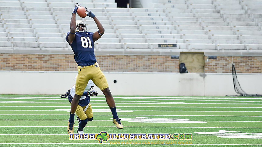 Wide receiver Myles Boykin (81) catches a pass.