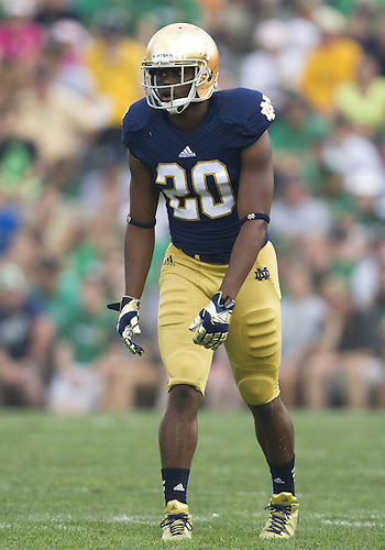 August 31, 2013:  Notre Dame wide receiver C.J. Prosise (20) during NCAA Football game action between the Notre Dame Fighting Irish and the Temple Owls at Notre Dame Stadium in South Bend, Indiana.  Notre Dame defeated Temple 28-6.