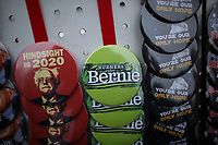 NEW YORK, NY - MARCH 02:  Bernie Sanders  pins are on display during his first presidential campaign rally at Brooklyn College on March 02, 2019 in the Brooklyn, New York.  (Photo by Kena Betancur/VIEWpress)