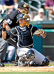 28 February 2007: Florida Marlins' catcher Matt Treanor in action during a pre-season Grapefruit League game against the St. Louis Cardinals on Opening Day for Spring Training at Roger Dean Stadium in Jupiter, Florida. The Cardinals and Marlins share Roger Dean Stadium and the training facilities which opened in 1998 as a co-development between the Cardinals and the Montreal Expos.<br /> <br /> Mandatory Photo Credit: Ed Wolfstein Photo