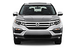 Car photography straight front view of a 2018 Honda Pilot EX-L 5 Door Suv Front View