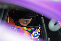 Mar. 9, 2012; Gainesville, FL, USA; NHRA pro stock driver Vincent Nobile during qualifying for the Gatornationals at Auto Plus Raceway at Gainesville. Mandatory Credit: Mark J. Rebilas-