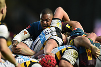 Kyle Sinckler of Harlequins in action at a scrum. Aviva Premiership match, between Harlequins and Wasps on April 28, 2017 at the Twickenham Stoop in London, England. Photo by: Patrick Khachfe / JMP