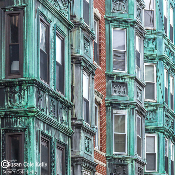 Copper-clad bay windows in the North End neighborhood, Boston, Massachusetts, USA