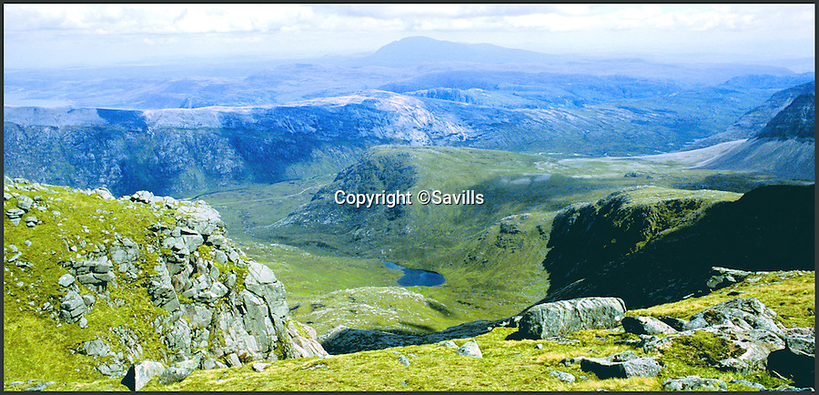 BNPS.co.uk ()1202 558833)<br /> Pic: Savills/BNPS<br /> <br /> Few of the estate from the top of mighty Foinavon mountain.<br /> <br /> Fancy being a Timeshare Laird?<br /> <br /> A rare opportunity to own a spectacular Scottish estate is up for grabs, but the lucky buyer will have to share their stunning new land with two others.<br /> <br /> The Gualin Estate is in the utterly unspoilt and dramatic setting of Sutherland in the Highlands and is renowned for its superb salmon and sea trout fishing.<br /> <br /> A one third share of the 6,239-acre plot is on the market with Savills for offers over £850,000, meaning you can enjoy all the benefits of owning an impressive estate without the sole responsibility of running it.