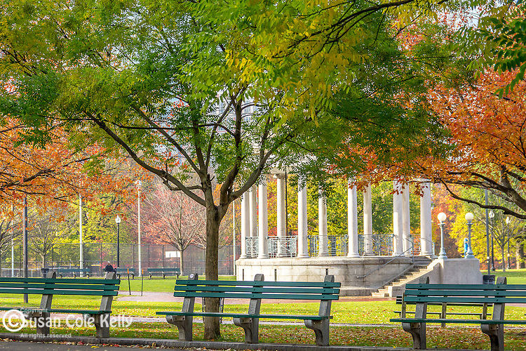 Autumn at the Parkman Bandstand on Boston Common, Boston, Massachusetts, USA