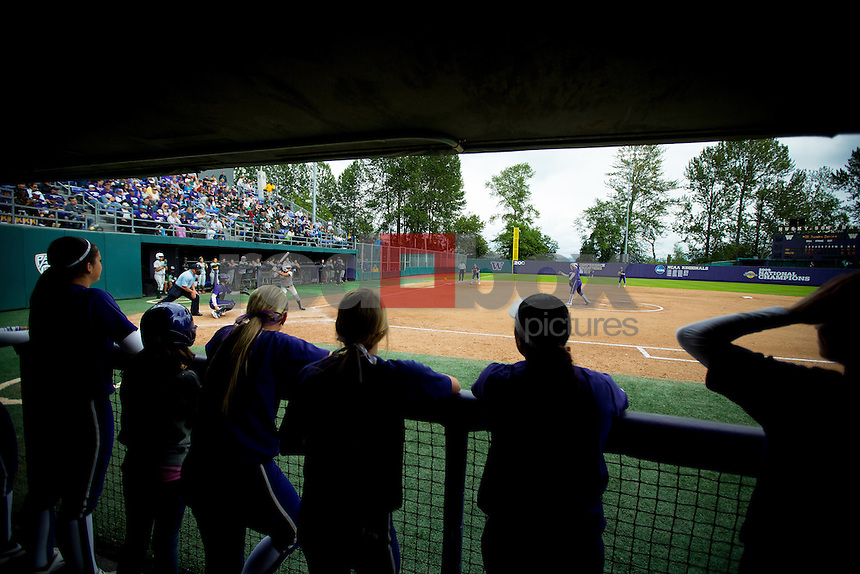 The University of Washington softball team defeats the University of Hawaii 8-0 in five inning in the regional final of NCAA tournament hosted by the University of Washington on Friday May 17, 2013 (Photo by Scott Eklund /Red Box Pictures)