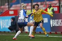 Danielle van de Donk of Arsenal tangles with Kirsty Barton of Brighton during Brighton & Hove Albion Women vs Arsenal Women, Barclays FA Women's Super League Football at Broadfield Stadium on 12th January 2020