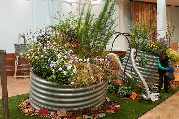 Hardy's Cottage Plants Nursery Installation of Autumn flowering herbaceous perennials at the RHS London Shades of Autumn Show 2013.