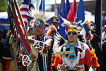 Ken Paul, left, and Ben Rupert participate in the Grand Entry at the annual Stewart Father's Day Pow Wow at the historic Stewart Indian Facility in Carson City, Nev., on Sunday, June 16, 2013.<br /> Photo by Cathleen Allison