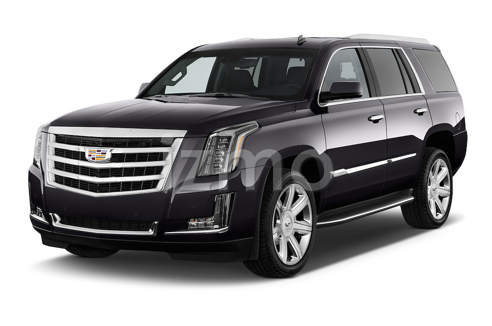 2017 Cadillac Escalade Luxury 5 Door SUV Angular Front stock photos of front three quarter view