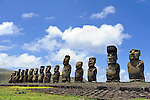 Moais of Ahu Tongariki on Easter Island, Chile.
