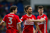 George Friend, Ryan Shotton, and Daniel Ayala of Middlesbrough organise themselves into a defensive wall during the Sky Bet Championship match between Cardiff City and Middlesbrough at the Cardiff City Stadium, Cardiff, Wales on 17 February 2018. Photo by Mark Hawkins / PRiME Media Images.