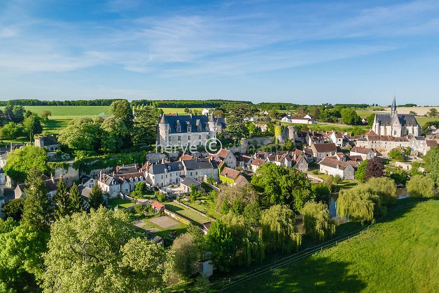 Indre-et-Loire (37), Montr&eacute;sor, class&eacute; Les Plus Beaux Villages de France (vue a&eacute;rienne) // Indre et Loire, Montresor, labelled Les Plus Beaux Villages de France (The Most beautiful<br /> Villages of France), (aerial view)
