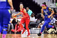 Washington, DC - August 12, 2018: Washington Mystics forward Aerial Powers (23) brings the ball up court during game between the Washington Mystics and the Dallas Wings at the Capital One Arena in Washington, DC. (Photo by Phil Peters/Media Images International)