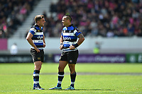 George Ford and Kahn Fotuali'i of Bath Rugby have a chat during a break in play. European Rugby Challenge Cup Semi Final, between Stade Francais and Bath Rugby on April 23, 2017 at the Stade Jean-Bouin in Paris, France. Photo by: Patrick Khachfe / Onside Images
