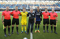 San Jose, CA - Saturday August 05, 2017: Wil Trapp, Chris Wondolowski, Alan Kelly, Michael Kampmeinert, Brian Dunn, Alex Chilowicz prior to a Major League Soccer (MLS) match between the San Jose Earthquakes and the Columbus Crew at Avaya Stadium.