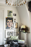The apartment is a combination of vintage furnishing, eye-catching fabrics and masterly use of space.  Objects and artworks, all chosen for their small scale, give the interior an extra edge.