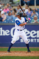 Wilmington Blue Rocks center fielder Anderson Miller (24) at bat during the first game of a doubleheader against the Frederick Keys on May 14, 2017 at Daniel S. Frawley Stadium in Wilmington, Delaware.  Wilmington defeated Frederick 10-2.  (Mike Janes/Four Seam Images)