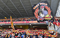 20191221 - LENS , FRANCE : illustration picture shows the fans in the Delacourt tribune pictured during the soccer match between Racing Club de LENS and Niort , on the 19 th matchday in the French Ligue 2 at the Stade Bollaert Delelis stadium , Lens . Saturday 21 December 2019. PHOTO DIRK VUYLSTEKE   SPORTPIX.BE