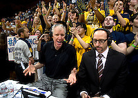 Pac-12 TV announcers talk during California's basketball game against UCLA at Haas Pavilion in Berkeley, California on February 14th, 2013.   California defeated UCLA, 77-63.
