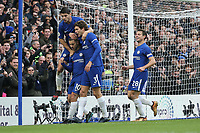 Eden Hazard of Chelsea celebrates after he scores his team's third goal of the game to make the score 3-1 during the Premier League match between Chelsea and Newcastle United at Stamford Bridge, London, England on 2 December 2017. Photo by David Horn.