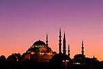 Suleymaniye Sundown 02 - Suleymaniye Mosque and Rustem pasa Mosque at sundown, from Eminonu, Istanbul, Turkey. Taken five minutes after Suleymaniye Sundown 01.