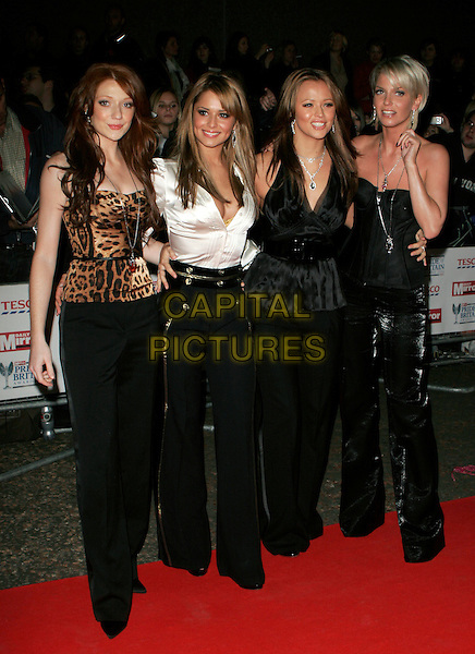 GIRLS ALOUD - NICOLA ROBERTS, CHERYL COLE (TWEEDY), KIMBERLEY WALSH & SARAH HARDING.The Daily Mirror's Pride Of Britain Awards, London Television Studios, London, UK..November 6th, 2006.Ref: AH.full length black strapless top white belt leopard print trousers .www.capitalpictures.com.sales@capitalpictures.com.©Adam Houghton/Capital Pictures