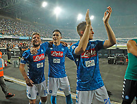 Jose Callejon and Dries Mertens at the end the  italian serie a soccer match,  SSC Napoli - Milan      at  the San  Paolo   stadium in Naples  Italy , August 25, 2018