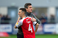 Fleetwood Town manager Joey Barton congratulates Fleetwood Town's Jason Holt<br /> <br /> Photographer Richard Martin-Roberts/CameraSport<br /> <br /> The EFL Sky Bet League One - Fleetwood Town v Shrewsbury Town - Saturday 13th October 2018 - Highbury Stadium - Fleetwood<br /> <br /> World Copyright &copy; 2018 CameraSport. All rights reserved. 43 Linden Ave. Countesthorpe. Leicester. England. LE8 5PG - Tel: +44 (0) 116 277 4147 - admin@camerasport.com - www.camerasport.com