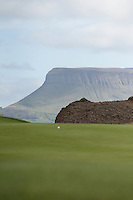 Benbulbin from the 3rd green during round 1 of The West of Ireland in Sligo Golf Club on Friday 18th April 2014.<br /> Picture:  Thos Caffrey / www.golffile.ie