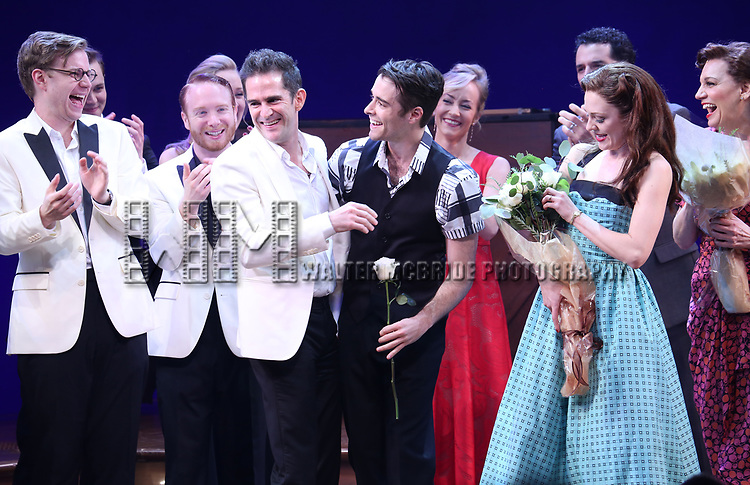 Andy Blankenbuehler, Corey Cott, Laura Osnes and Beth Leavel during the Broadway Opening Night Curtain Call Bows of 'Bandstand' at the Bernard B. Jacobs Theatre on 4/26/2017 in New York City.
