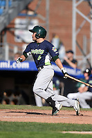Vermont Lake Monsters outfielder Ben McQuown (6) at bat during a game against the Jamestown Jammers on July 13, 2014 at Russell Diethrick Park in Jamestown, New York.  Jamestown defeated Vermont 6-2.  (Mike Janes/Four Seam Images)
