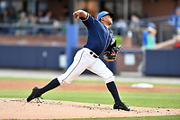 Asheville Tourists starting pitcher Erick Julio (29) delivers a pitch during a game against the Greensboro Grasshoppers at McCormick Field on April 27, 2017 in Asheville, North Carolina. The Tourists defeated the Grasshoppers 8-5. (Tony Farlow/Four Seam Images)