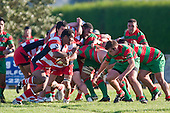 Dominic Olson moves in to make a tackle on Viliame Setitaia. Counties Manukau Premier Club Rugby game bewtween Waiuk & Karaka played at Waiuku on Saturday April 11th, 2010..Karaka won the game 24 - 22 after leading 21 - 9 at halftime.