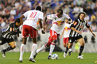 Ibrahim Salou (29) of the New York Red Bulls plays the ball during the first half of a friendly between Sanots FC and the New York Red Bulls at Red Bull Arena in Harrison, NJ, on March 20, 2010.