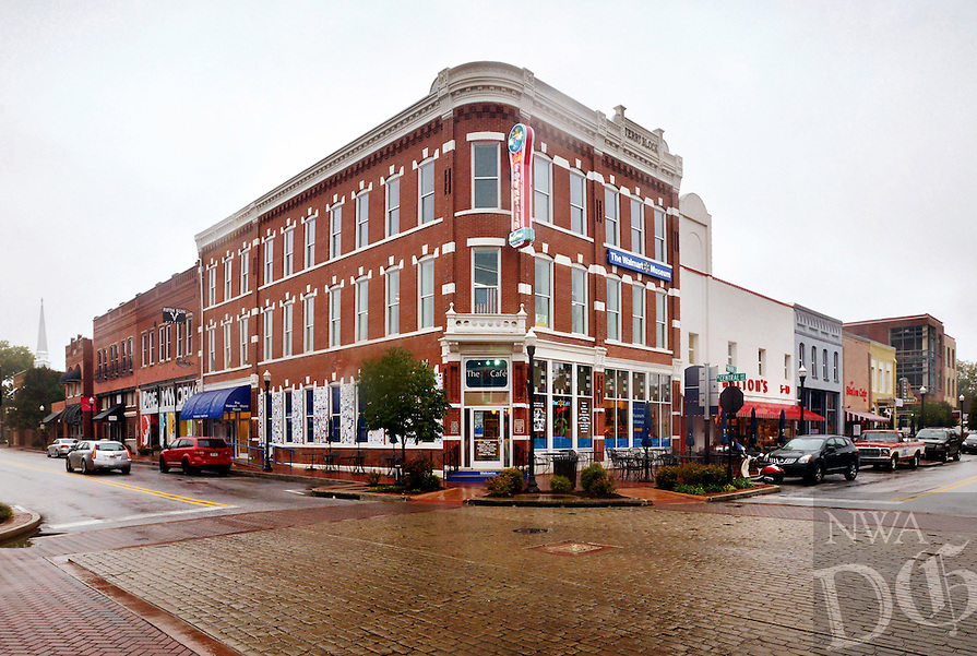 STAFF PHOTO BEN GOFF  @NWABenGoff -- 10/11/14 The Terry Block building, built in 1888 and now home to the Walmart Museum, anchors the corner of N. Main Street and W. Central Avenue in downtown Bentonville on Saturday October 11, 2014.