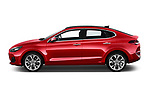 Car driver side profile view of a 2018 Hyundai i30 Fastback Shine 5 Door Hatchback