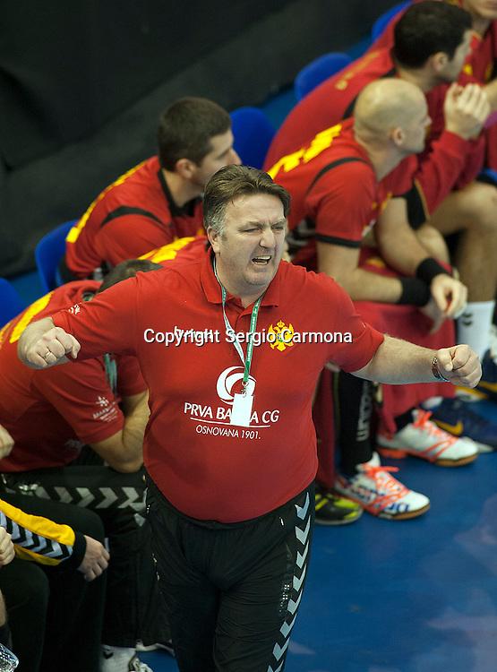 23rd IHF Men's World Championship; GER-MNE.Coach (MNE) Zoran Kastratovic.