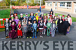 Children from Knocknasna N.S. in costume to celebrate Halloween,Pictured with staff members Maria Lane , Billy Quirke (Principal) & Deloris Keane.