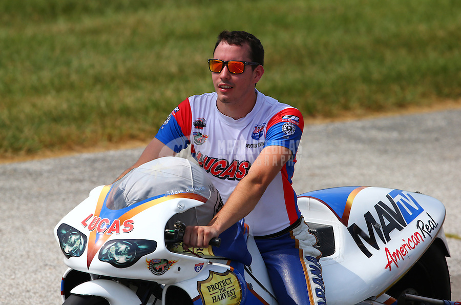 Aug. 31, 2013; Clermont, IN, USA: NHRA pro stock motorcycle rider Adam Arana during qualifying for the US Nationals at Lucas Oil Raceway. Mandatory Credit: Mark J. Rebilas-