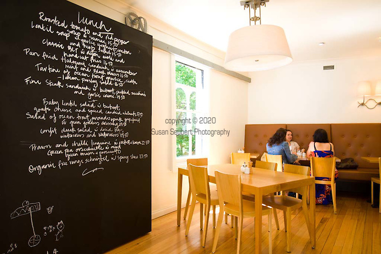 Celebrity chef Bill Granger owns Bill's Cafe in the Darlinghurst neighborhood of Sydney, NSW features a large communal table.