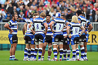 Bath players have a word during a break in play. Pre-season friendly match, between Bath Rugby and Bristol Rugby on August 17, 2013 at the Recreation Ground in Bath, England. Photo by: Patrick Khachfe / Onside Images