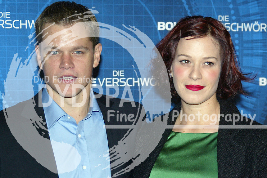 "Actors Matt Damon and Franka Potente attends the Germany Premiere of ""Die Bourne Verschwörung / The Bourne Supremacy"" at CineStar am Potsdamer Platz, Berlin"