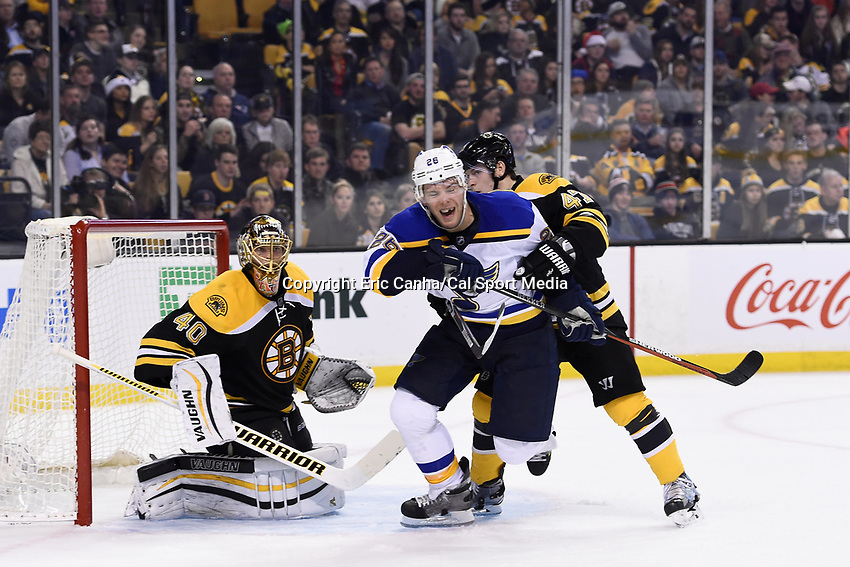 Tuesday, December 22, 2015: St. Louis Blues center Paul Stastny (26) works to get free of Boston Bruins defenseman Torey Krug (47) while playing in front of goalie Tuukka Rask (40) during the National Hockey League game between the St. Louis Blues and the Boston Bruins held at TD Garden, in Boston, Massachusetts. The blues beat the Bruins 2-0 in regulation time. Eric Canha/CSM