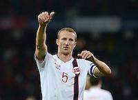 Fussball International  WM Qualifikation 2014   12.10.2012 Schweiz - Norwegen SCHLUSSJUBEL Torschuetze zum 1-1 Ausgleich Brede Hangeland (Norwegen)